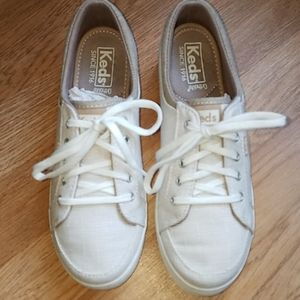 Keds Ortholite beige/white canvas sneakers size 6